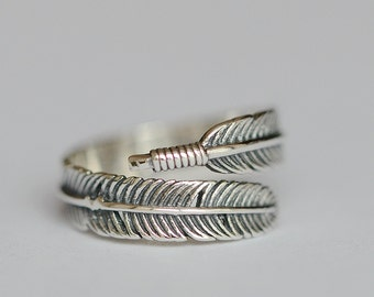 925 Sterling Silver Retro Old Style Feather Adjustable Silver Ring 1167