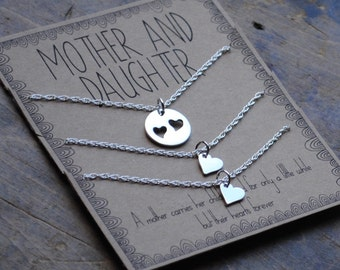 Mother Daughter Necklace  .  Set of THREE Sterling Round Necklace Set .  a mother carries her childs heart  .  mother of the bride jewelry