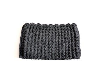 1940s purse, 40s purse Large Black Clutch cochet Bag, Crochet Purse, Boho Clutch, Bohemian Clutch, Crochet Clutch
