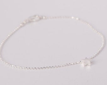 Bracelet Silver Star Love Chain Plated Starlet Silver Plated Ballchain Chain Silver Plated Stars