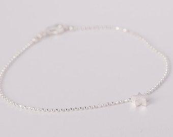 Bracelet Silver Star Love Chain Plated Starlet Silver Plated Ballchain Chain Silver Plated Stars