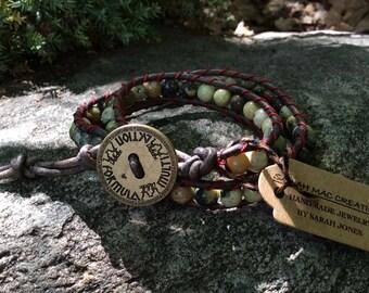 Double Wrap Jasper Green Earth Tones Bracelet