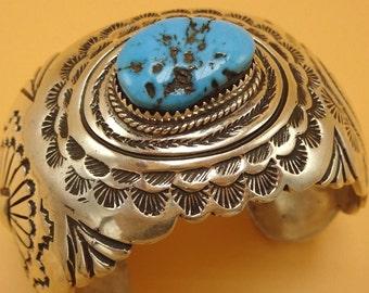 Vintage NAVAJO Hand Stamped Sterling Silver & Kingman TURQUOISE Cuff BRACELET