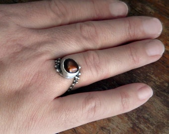Brown Baroque Natural Pearl Ring, Dotted Ring, Sterling Silver 925, Ready in US size 5.5, June Birthstone, Granulation Ring, Rings for Women