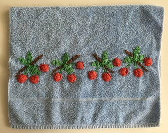 Vintage Cannon Pale Blue Hand Towel with Crocheted Cherries