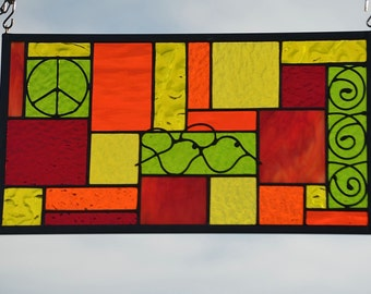 Boho Stained Glass Panel.  Red, Orange, Yellow, Lime Stained Glass, Copper Accents, 'Peace, Love, Hope'