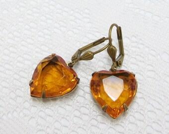 Amber Heart Earrings Topaz Heart Ear Dangles Glass Jewel Earrings Victorian Downton Abbey
