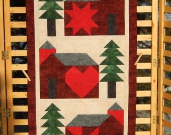Three Quilt Barns with Evergreens Wall Hanging/Table Runner