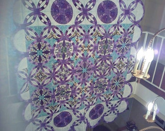 Iris & Pansey Embroidered Quilt