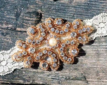 Vintage Rose Gold Headband with Crystals/Rhinestones and a Pearl - Rose Gold Crystal Lace Headband- Great Photo Prop - Perfect for weddings!