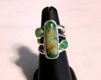 Sterling Silver Ring with Moss Agate