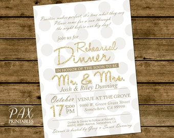 Glitter Rehearsal Dinner Invitation - Printable Wedding Rehearsal Invitations, Couples Shower, Engagement Party, Wedding Shower