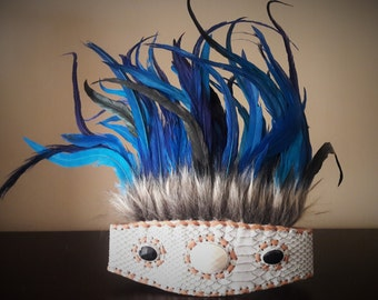 Indian Style headband with brown fur and electric blue feathers
