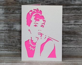 Holly Golighty, Audrey Hepburn, Breakfast at Tiffanys - Papercut Greetings Card