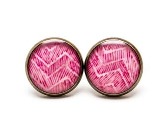 Pink Chevron Stud Earrings Chevron Jewelry Batik Watercolor Earrings Zig Zag Geometric Light Pink Pinkish Color Stud Watercolor Batik