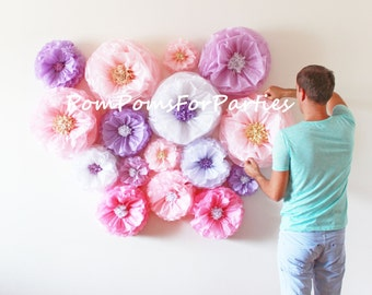 Oversized paper flowers 10 units!! Flower backdrop wall. Breathtaking centerpiece. Luxury wall decor. Breathtaking Centerpiece. Blush/Pink