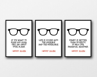 """Set of 3 Woody Allen Prints, A3/A4/A5/5 x7""""/8 x 10""""/11 x 14""""   Gift for Film Lovers"""