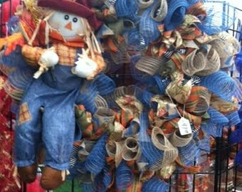 Fall Harvest Scarecrow Deco mesh Wreath