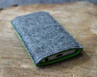 iPhone Sleeve / iPhone Cover / iPhone Case in Mottled Dark Grey and Lime Green 100% Wool Felt