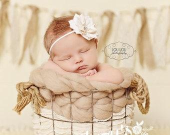 Cream flower headband, flower rhinestone headband, rhinestone baby headband, baby headband, infant headband, flower headband, newborn band