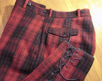 """NEAR MINT 1940s Red Plaid Lace-Up """"Emergency Garment"""" Pants .: 36"""