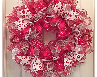 Valentine Red and White Deco Mesh Wreath/ Red and White Wreath/Valentine Wreath