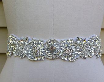 SALE - Wedding Belt, Bridal Belt, Sash Belt, Crystal Rhinestone Sash - Style B72217