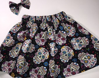 Sugar skulls skirt, day of the dead, dia de los muertos