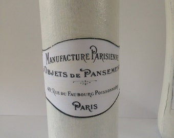 Shabby chic home decor. Decorative Bottle ,Home Decor , Wine bottle,White decorative bottle,French label
