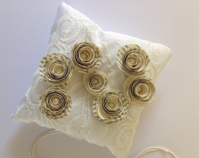 Book Page Rolled Flowers, White Lace Ring Bearer Pillow , Book Page Flower Ring Cushion, Made to order.
