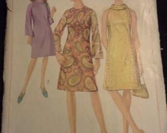 60s cowl neck dress pattern Simplicity 6783 Size 12