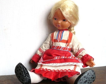 Soviet plastic Doll with Blond Hair and Blue eyes, Russian traditional folk costume, Soviet era, Collectible Doll, Made in USSR