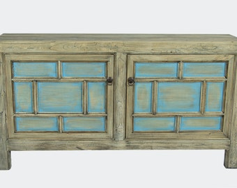 Antique Chinese Storage Credenza in Distressed Natural and Sea Blue (Los Angeles)