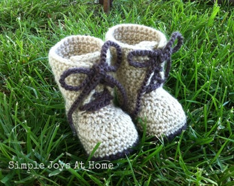 Crocheted Baby Combat Boots // Army Boots // Infant Shoes // Booties // Armed Forces Gift // Soldier Baby Photo Prop // Made to Order