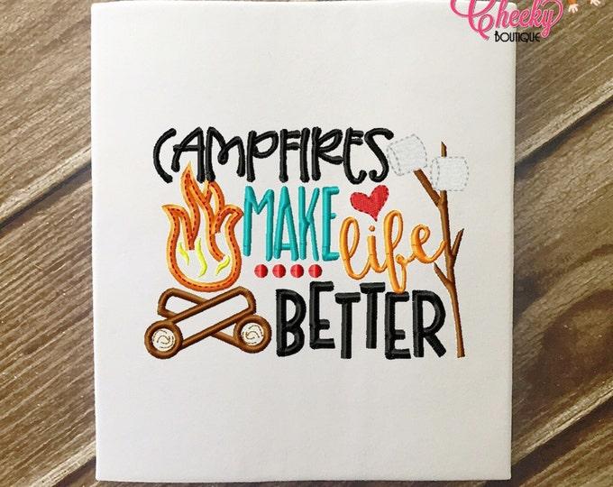 SAMPLE SALE, Camfires Make Life Better Embroidered Shirt - Girls Camping Shirt - Boys Camping Shirt - Canpfire - S'Mores - Summer