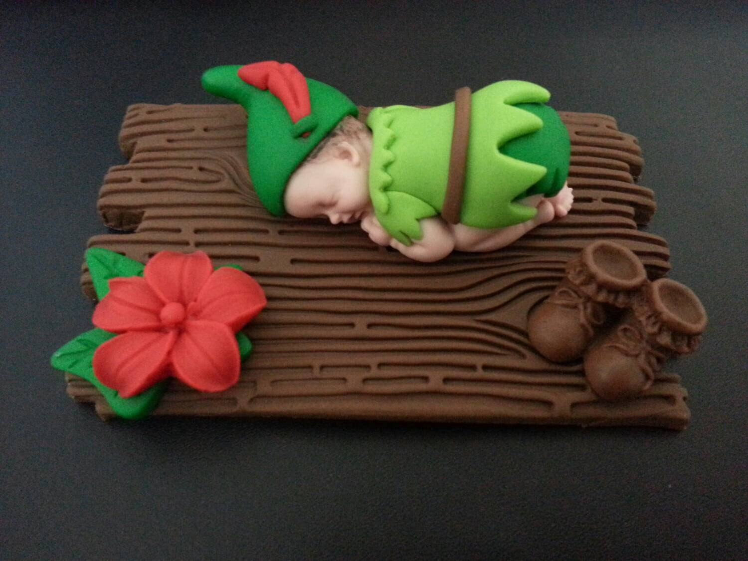fondant peter pan baby cake topper for baby shower birthday
