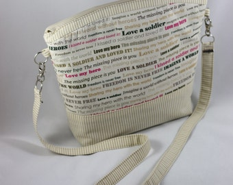 Beige, lightweight arm / cross body purse