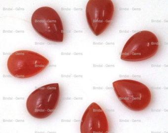 15 Pieces Wholesale Lot Red Onyx Pear Shape Cabochon Gemstone For Jewelery