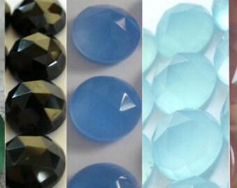 Mix Lot Of 10 Pcs Green Onyx, Black Onyx, Aqua, Blue, Pink Chalcedony 14x14 mm Round Rose Cut Gemstone