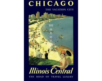 "Illinois Central RR - ""Chicago, Vaction City"" - Vintage Railroad Travel Poster"