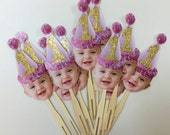 PHOTO cupcake toppers pink and gold. set of 12