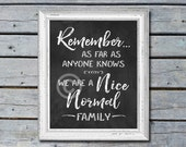 Digital Chalkboard Print - Remember, as far as anyone knows, we are a nice normal family -8x10 Funny Home Decor, Wall Art