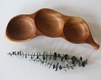 Vintage Hawaiian-Made Monkey Pod Wood 3-Section Dish