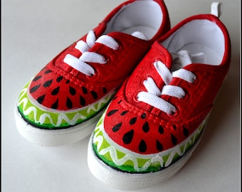 Toddler Shoes, Girls Shoes, Girls Watermelon Shoes, Toddler Canvas Lace Sneakers, Spring/Summer Shoes