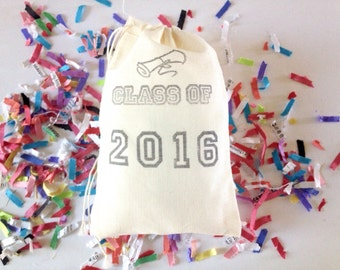 Class of 2016 Graduation Favor Bag Gift Bag Stamped Muslin Party Bag Set of 10 Grad Party Supplies