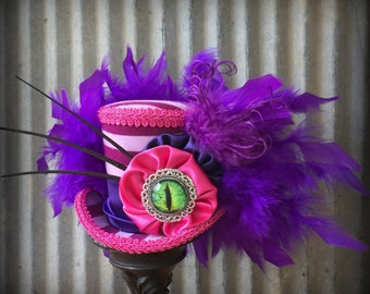 Mini Top Hat, Cheshire Cat Hat, Mad Hatter Hat, Alice In Wonderland Hat, Mad Tea Party Hat, Pink and purple stripe Hat, Mad Hatter TEa Party