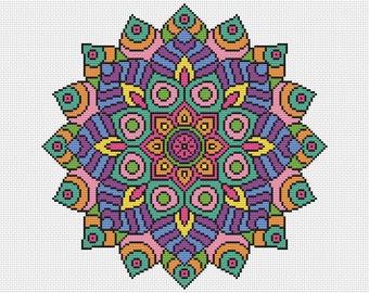 KIT Mandala Cross Stitch Kit - Statement Mandala Complete Cross Stitch Kit 16 Count with DMC Threads