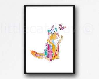 Cat Print Unicorn With Butterfly Caticorn Colorful Rainbow Cat Print Watercolor Painting Cat Art Print Watercolor Unframed Wall Decor