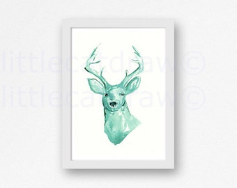 Deer Print Mint Watercolor Painting Animal Print Sea Glass Mint Wall Art Deer Print Deer Painting Unframed Deer Art Print Wall Decor