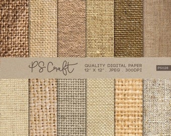 Natural Burlap Digital Papers, Fabric Texture Digital Papers, Burlap Pattern